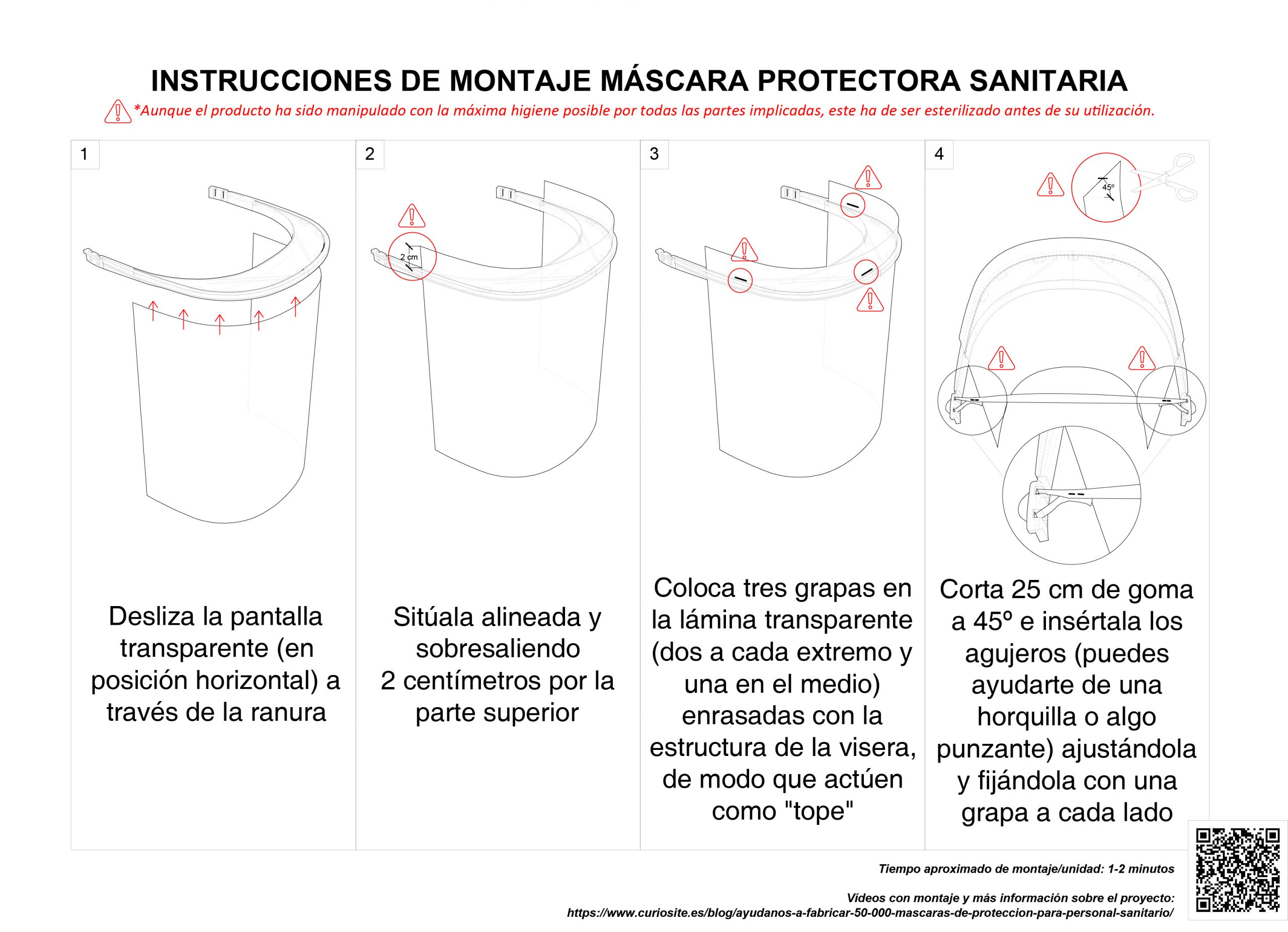 Instrucciones de montaje Máscara protectora sanitaria
